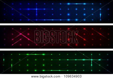 Set Of Three Abstract Dark Banners With Shiny Rays