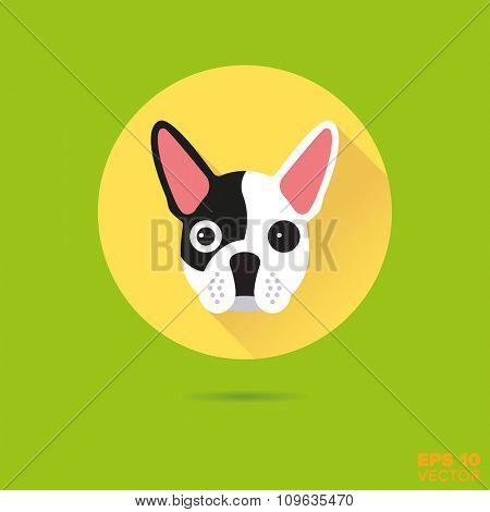 French Bulldog flat design vector icon