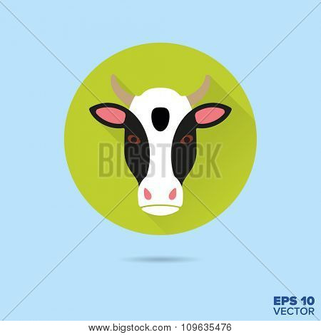 Cow face flat design vector icon