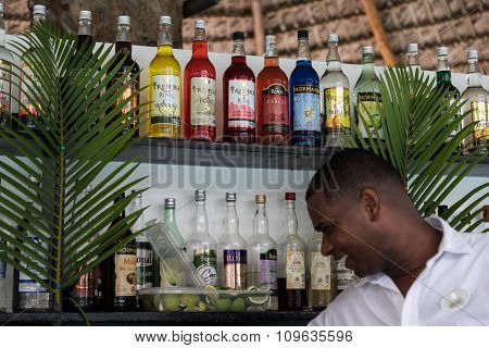 Punta Cana, Dominican Republic - October 2nd 2015: Bottles with alcoholic drinks on the shelf