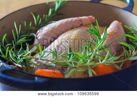 Pheasant In Cooking Pot