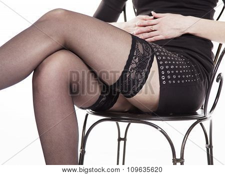 Legs Seated Woman Closeup