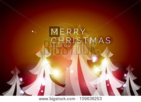 Holiday red abstract background, winter snowflakes, Christmas and New Year design template, light shiny modern vector illustration