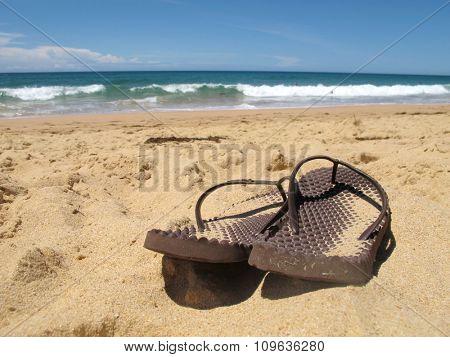 Close up Flip Flops on Beach 2