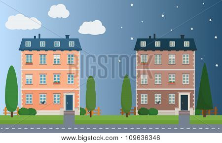 Day and night houses with trees