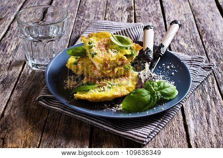 Omelet With Shrimp And Peas