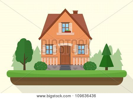 Small house with evening or night landscape.
