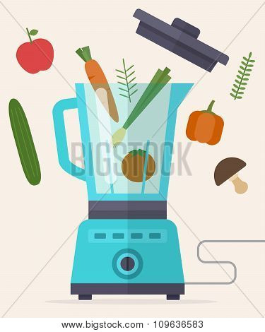 Food processor, mixer, blender and vegetables.