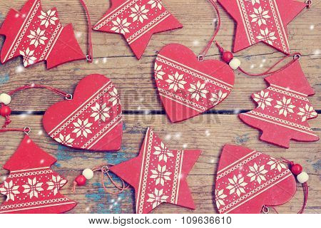 New Year's Background. Red Decorative Ornaments, Top View.