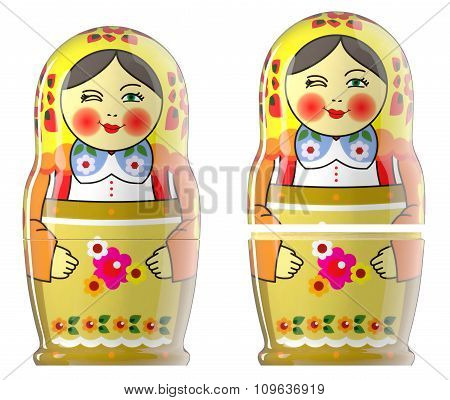 Render of two matryoshka doll isolated on white