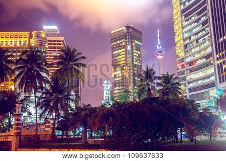 modern buildings and tropical trees with bushes at twilight