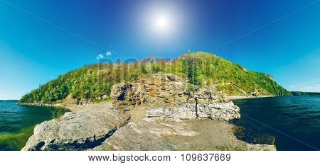 Beautiful river landscape. panoramic view of Dniester river in Bakota, Ukraine in nice day