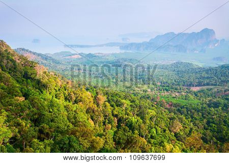 beautiful landscape with green trees on mountains, rocks and sunshine in Thailand