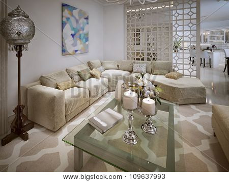 Luxury Living In The Moroccan Style. With A Large Sofa.
