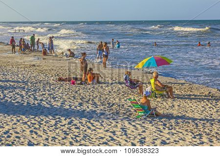 People Enjoy The Beautiful Beach In St. Augustine