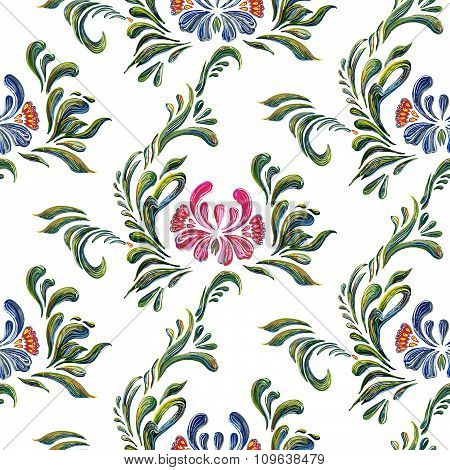 Seamless pattern with Ukrainian folk art floral background.