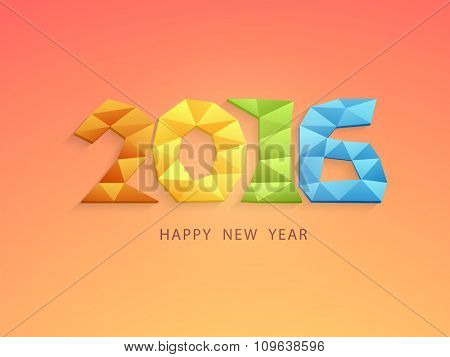 Creative colorful origami text 2016 on shiny background for Happy New Year celebration.