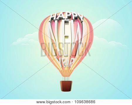 Creative 3D text Happy New Year on flying hot air balloon in the cloudy sky.