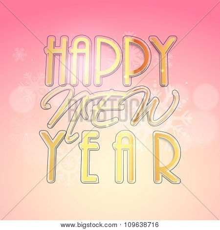 Elegant greeting card design with stylish text Happy New Year on snowflakes decorated pink background.