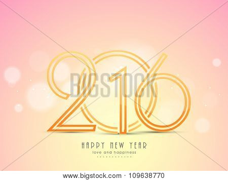 Elegant greeting card design with stylish text 2016 on shiny background for Happy New Year celebration.