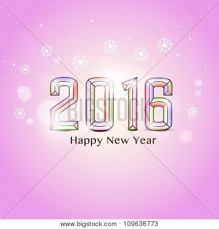 Stylish colorful text 2016 on snowflakes decorated glossy pink background for Happy New Year celebration.