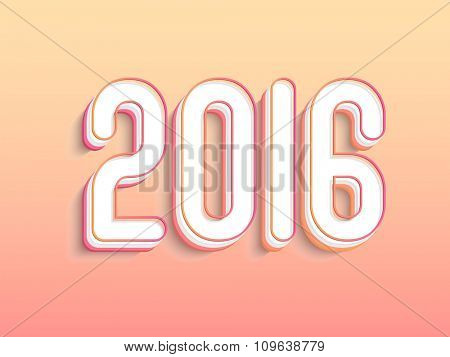 Creative text 2016 on shiny background for Happy New Year celebration.