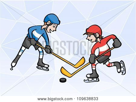 Two Boys Playng Ice Hockey