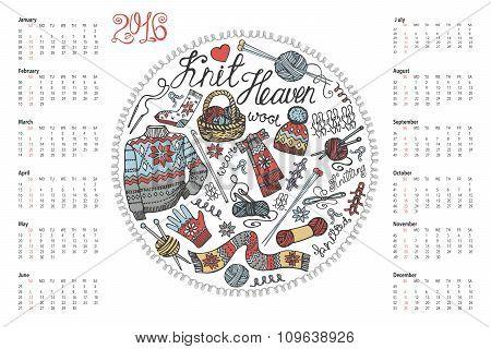 Calendar 2016.Doodle hand made knitting