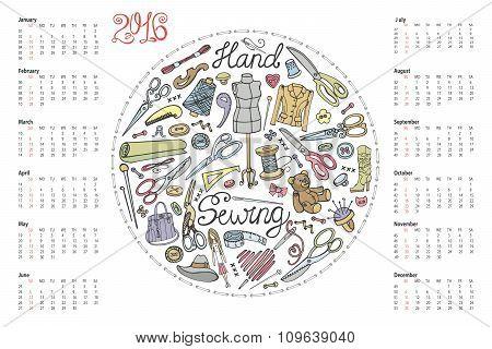 Calendar 2016.Doodle hand made sewing