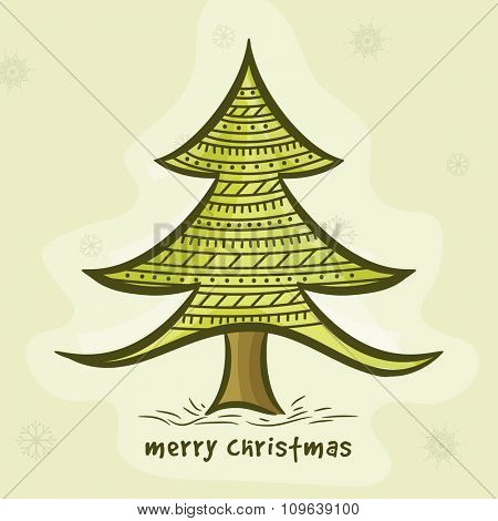 Merry Christmas celebration with creative Xmas Tree on Snowflakes decorated background.