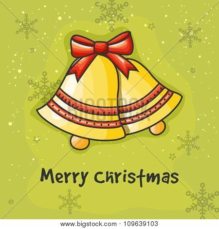 Merry Christmas celebration with glossy Jingle Bells on Snowflakes decorated green background.