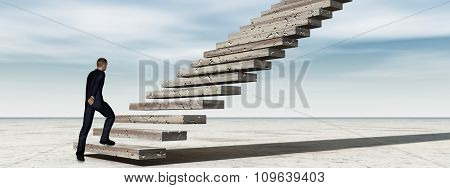 Concept conceptual 3D business man walking or climbing stair on sky background with clouds banner