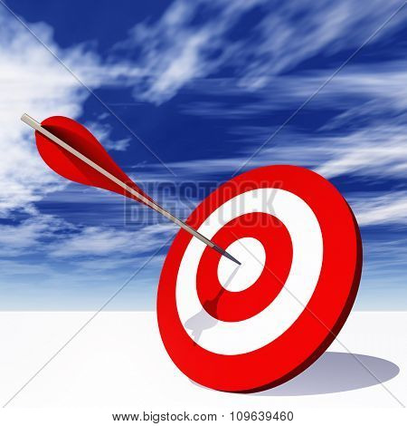 Concept or conceptual red dart target board with arrow in the center on clouds sky background, metaphor to success, competition, business, game, achievement, win, perfection, strategy, best or focus