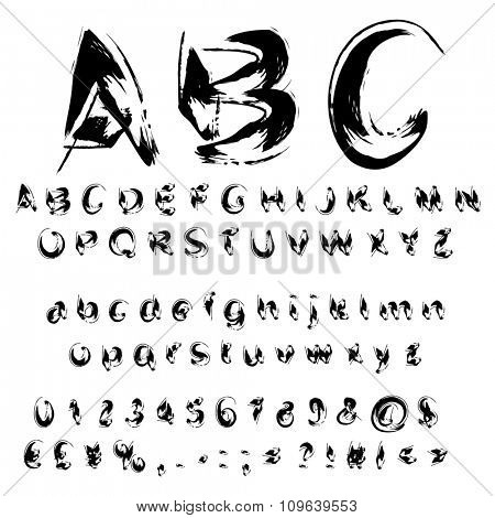 Concept or conceptual set or collection of black handwritten, sketch or scribble paint font isolated on white background