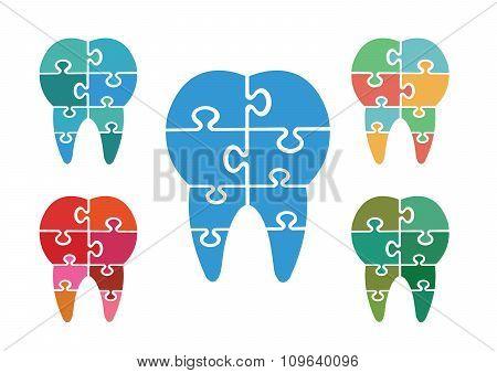 Modern jigsaw dental icons set
