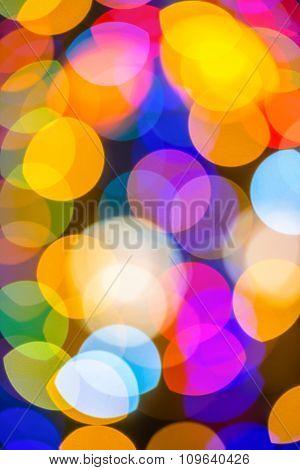 Beautiful Christmas Big Lights Abstract Colorful Bokeh Background, Closeup