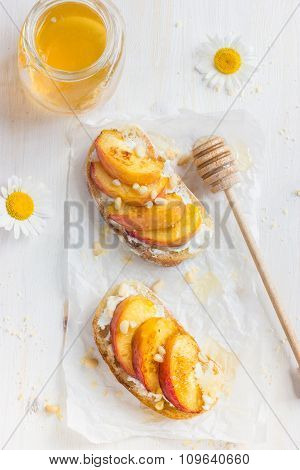 Bruschetta With Ricotta, Grilled Peach And Honey