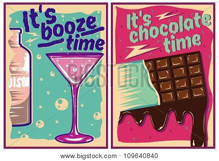 Chocolate and cocktail posters in vintage style. Party bar concept banner with typography design ele