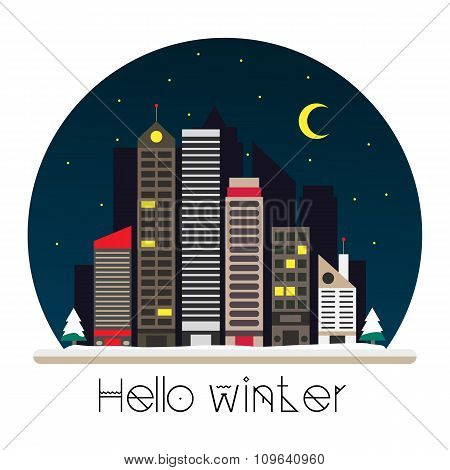 City at night vector illustration in flat style design. Winter town skyline, apartment buildings