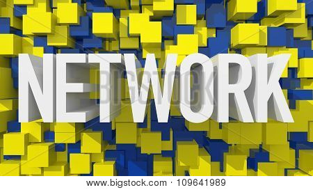 Extruded Network Text With Blue Abstract Backround Filled With Cubes