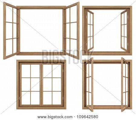 Collection Of Isolated Wodden Windows