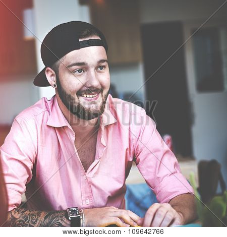 Cheerful Man Student Smiling Happiness Casual Concept