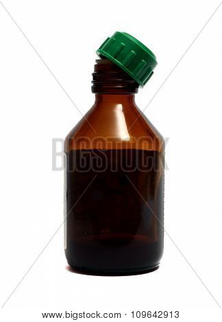 A Small Brown Bottle For Medicines On A White Background