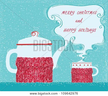 Christmas Greeting Card With Cup Tea And Kettle Background