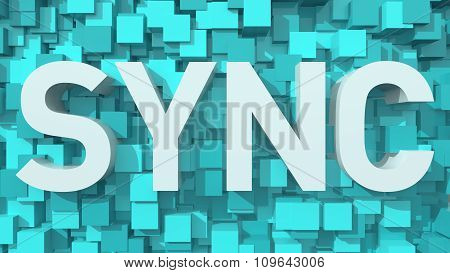 Extruded Sync Text With Blue Abstract Backround Filled With Cubes