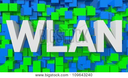 Extruded Wlan Text With Blue Abstract Backround Filled With Cubes