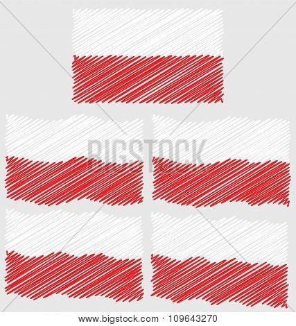 Flat and Waving Hand Draw Sketch Flag of Poland