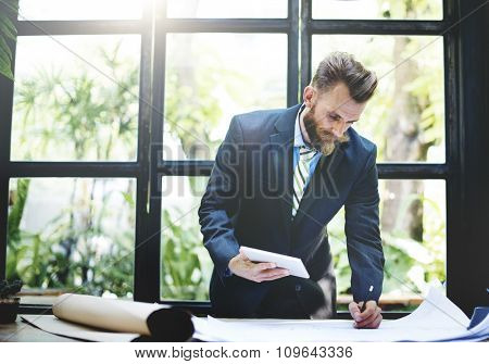 Businessman Thinking Planning Strategy Working Plan Concept