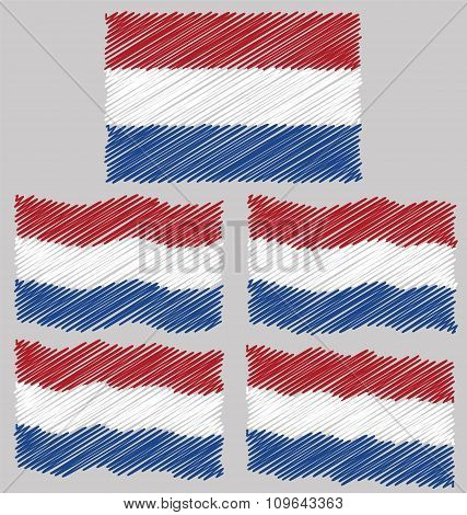 Flat and Waving Hand Draw Sketch Flag of Netherlands
