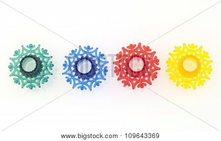 Colorful snowflakes toys from the garland